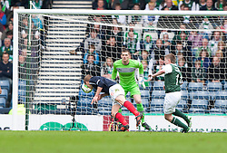 Falkirk's Jay Fulton scoring their second goal..Half time : Hibernian 0 v 3 Falkirk, William Hill Scottish Cup Semi Final, Hampden Park..©Michael Schofield..