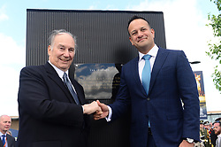 Taoiseach Leo Varadkar (right) and HH Aga Khan at the opening of the Curragh Racecourse and The Aga Khan Stand during day two of the Curragh Spring Festival at Curragh Racecourse, County Kildare.