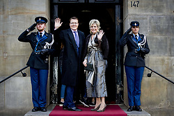 Prince Constantijn and Princess Laurentien of The Netherlands arrive for Princess Beatrix 80th birthday reception held at the Royal Palace on Dam Square in Amsterdam, Netherlands, February 3, 2018. Photo by Robin Utrecht/ABACAPRESS.COM