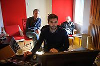 Fotball<br /> 23.03.17 , 20170323<br /> Frontfigur Ingrid Helene Håvik og produsent Kåre Vesterheim i Highasakite i studio i forbinelse med at de har laget en ny Tippeligahymne <br /> Foto: Sjur Stølen / Digitalsport