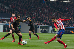 November 22, 2017 - Madrid, Madrid, Spain - Augusto (R) shoot to goal..during Atletico de Madrid won by 2 to 0 whit goals of Griezmann and Gameiro against Roma. (Credit Image: © Jorge Gonzalez/Pacific Press via ZUMA Wire)