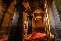 Interior of Bet Medhane Alem, one of 11 rock hewn medieval monolithic churches in Lalibela, Ethiopia.