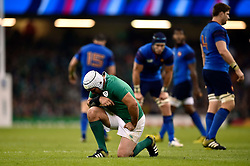 Rory Best of Ireland takes a breather during a break in play - Mandatory byline: Patrick Khachfe/JMP - 07966 386802 - 11/10/2015 - RUGBY UNION - Millennium Stadium - Cardiff, Wales - France v Ireland - Rugby World Cup 2015 Pool D.