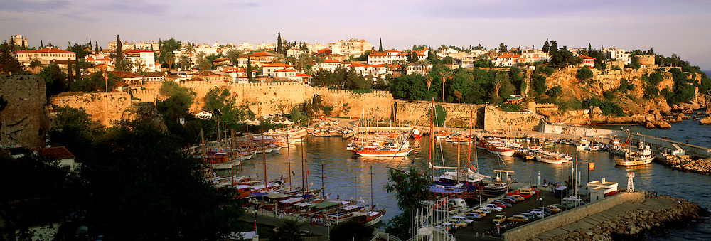 TURKEY, SOUTH COAST, MEDITERRANEAN ANTALYA; the Kaleici or old city, surrounding the port with its Roman walls from the 2c.BC