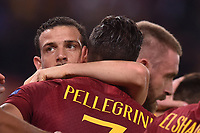 Celebrations after score of Edin Dzeko Roma, with Lorenzo Pellegrini and Alessandro Florenzi.<br /> Roma 23-10-2018 Stadio Olimpico<br /> Football Calcio UEFA Champions League 2018/2019, Group G. <br /> AS Roma - CSKA Moscow<br /> Foto Antonietta Baldassarre / Insidefoto