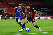 Dominic Solanke (9) of AFC Bournemouth battles for possession with Jack Colback (8) of Nottingham Forset during the EFL Sky Bet Championship match between Bournemouth and Nottingham Forest at the Vitality Stadium, Bournemouth, England on 24 November 2020.