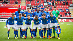 May 17, 2018 - United Kingdom - Italy Team Shoot.Back Row - Paolo Gozzi Iweru, Samuele Ricci, Emmanuel Gyabuaa, Edoardo Vergani and Alessandro Russo of Italy Under 17 .Front Row - Giorgio Brogni, Alberto Barazzetta, Nicolo Fagioli, Jean Freddi Pascal Greco, Giuseppe Leone and Nicolo Armini of Italy Under 17 .during the UEFA Under-17 Championship Semi-Final match between Italy U17s against Belgium U17s at New York Stadium, Rotherham United FC, England on 17 May 2018. (Credit Image: © Kieran Galvin/NurPhoto via ZUMA Press)