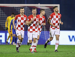 Zagreb, March 21, 2019  Croatian players (L-R) Ivan Perisic, Borna Barisic, Andrej Kramaric, Bruno Petkovic celebrate after scoring a goal against Azerbaijan during the  UEFA Euro 2020 group E qualifying match at the Maksimir stadium in Zagreb, Croatia, on March 21, 2019. Croatia won 2:1. (Credit Image: © Jurica Galoic/Pixsell/Xinhua via ZUMA Wire)