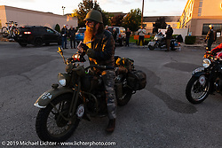 Randy Samz ready to start the day on his 1942 Harley-Davidson WLA during the Cross Country Chase motorcycle endurance run from Sault Sainte Marie, MI to Key West, FL (for vintage bikes from 1930-1948). Stage 2 from Ludington, MI to Milwaukee, WI, USA. Saturday, September 7, 2019. Photography ©2019 Michael Lichter.