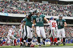 Philadelphia Eagles tight end Brent Celek #87 is congratulated by teammates after scoring a touchdown during the NFL game between the New York Giants and the Philadelphia Eagles on November 1st 2009. The Eagles won 40 to 17 at Lincoln Financial Field in Philadelphia, Pennsylvania. (Photo By Brian Garfinkel)