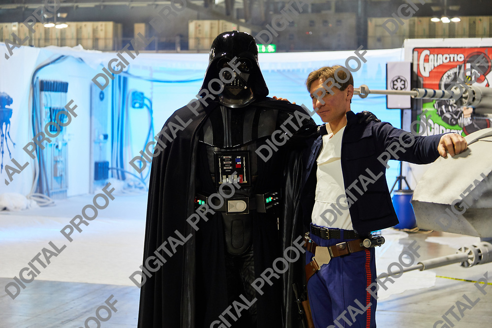 Milan, Italy - March 8 2019 Cartoomics Comic Con Darth Vader and Han Solo from Start Wars Cosplay