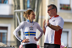 Emma Johansson back stage with Marvin Barras - Emakumeen Saria - Durango-Durango 2016. A 113km road race starting and finishing in Durango, Spain on 12th April 2016.