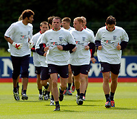 Fotball<br /> Foto: Jed Wee, Digitalsport<br /> NORWAY ONLY<br /> Trening England v Island<br /> <br /> England Training, England v Iceland, Manchester Tournament, 04/06/2004.<br /> England's Jamie Carragher, who replaces the injured John Terry for the game against Iceland, in training.
