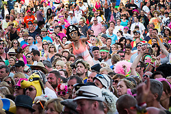 """© Licensed to London News Pictures . 08/08/2015 . Siddington , UK . """" Captain Pugwash """" in the crowd at The Rewind Festival of 1980s music , fashion culture at Capesthorne Hall in Macclesfield . Photo credit: Joel Goodman/LNP"""
