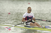Seville, Andulucia, SPAIN<br /> <br /> 2002 World Rowing Championships - Seville - Spain Sunday 15/09/2002.<br /> <br /> Rio Guadalquiver Rowing course<br /> <br /> NOR M1X Olaf Tufte<br /> <br /> [Mandatory Credit:Peter SPURRIER/Intersport Images]