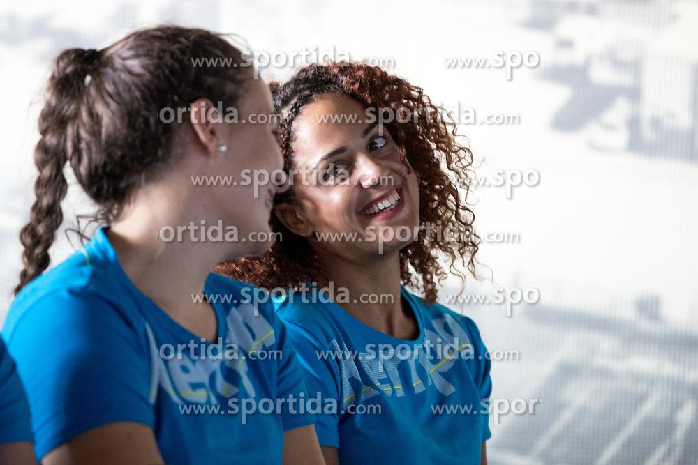 Tjasa Stanko and Labrina Tsakalou at press conference of RK Krim before new season 2017/18, on August 16, 2017 in SRC Stozice, Ljubljana, Slovenia. Photo by Matic Klansek Velej / Sportida