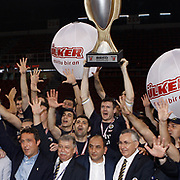 Fenerbahce players Darjus LAVRINOVIC (C) celebrate with the Turkish Beko Basketboll League championship trophy at the Abdi Ipekci Arena in Istanbul Turkey on Friday 17 June 2011. Fenerbahce Ulker wrapped up its fifth Turkish League championship and fourth in the last five years by holding on to edge Galatasaray CC 88-91 in Game 6 of the Turkish League finals on Friday in Istanbul. Photo by TURKPIX