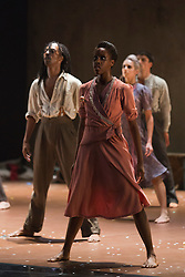 "© Licensed to London News Pictures. 22/10/2013. London, England. Mbulelo Ndabeni and Kym Alexander at front. Dance company Rambert perform the London premiere of ""The Castaways"", a new piece by Barak Marshall, at Sadler's Wells Theatre, 22-26 October 2013. Dancers: Miguel Altunaga, Kirill Burlov, Mbulelo Ndabeni, Adam Park,  Jon Savage, Stephen Wright, Kym Alexander, Antonette Dayrit, Julia Gillespie, Vanessa King, Estela Merlos and Hannah Rudd. Photo credit: Bettina Strenske/LNP"
