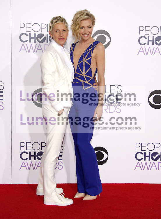 Ellen DeGeneres and Portia de Rossi at the 41st Annual People's Choice Awards held at the Nokia L.A. Live Theatre in Los Angeles on January 7, 2015. Credit: Lumeimages.com