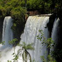 South America, Argentina, Iguacu Falls in sun.