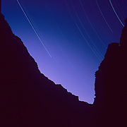 Night sky from the inner gorge deep within the Grand Canyon in Grand Canyon National Park, Arizona.