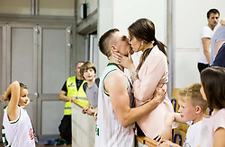 Gregor Hrovat #15 of KK Union Olimpija  celebrates with his girlfriend after winning during basketball match between KK Union Olimpija and KK Rogaska in 2nd Final game of Liga Nova KBM za prvaka 2016/17, on May 19, 2017 in Hala Tivoli, Ljubljana, Slovenia. Photo by Vid Ponikvar / Sportida