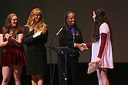 "19 January 2015-Santa Barbara, CA: The Arlington Theater Program; Essay/Poetry Winners-Ages 13-17 with Sojourner Kincaid Rolle, Amanda Kramer and Jarrod Schwartz.  <br /> Essay - Ages 13-17<br /> 1st   Miranda Vazquez      SBHS <br /> 2nd  Micaela McBee          SBHS<br /> 3rd   Andrea Gaytan         SBHS<br /> 3rd   Sofia Warren            SBHS<br /> <br /> Poetry - Ages 13-17<br /> 1st   Berenice Ruiz           SBHS<br /> 2nd  Malia Jungert           SBHS<br /> 3rd   Cooper Johnson      SBHS<br /> 3rd   Alana Ochoa           SBHS<br /> <br /> Santa Barbara Honors Dr. Martin Luther King Jr. with a Day of Celebration.  The Santa Barbara MLK, Jr. Committee chose ""Drum Majors for Justice"" as it's theme for the day which included a Pre-March Program in De la Guerra Plaza followed by a march up State Street to the Arlington Theater for speakers, music and poetry.  The program concluded with a Community Lunch at the First United Methodist Church in Santa Barbara.  Photo by Rod Rolle"