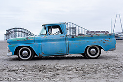 A classic pickup truck sitting in the sand after TROG (The Race Of Gentlemen). Wildwood, NJ. USA. Sunday June 10, 2018. Photography ©2018 Michael Lichter.