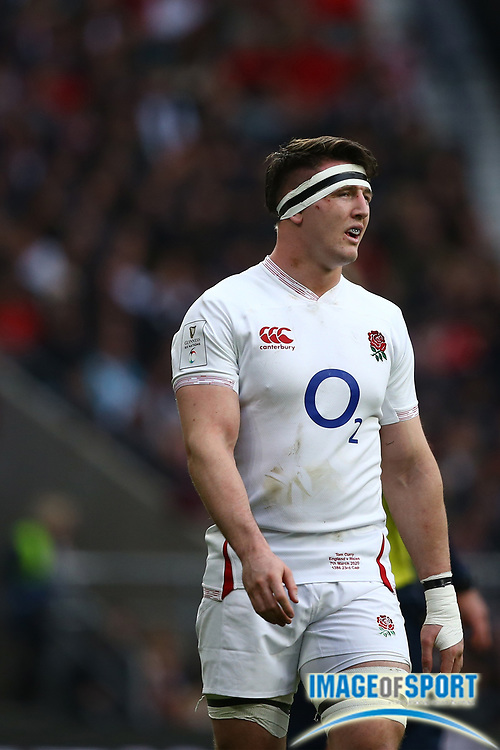 Tom Curry of England during the Guinness Six Nations between England and Wales at Twickenham Stadium, Saturday, March 7, 2020, in London, United Kingdom. (Mitchell Gunn-ESPA-Images/Image of Sport)