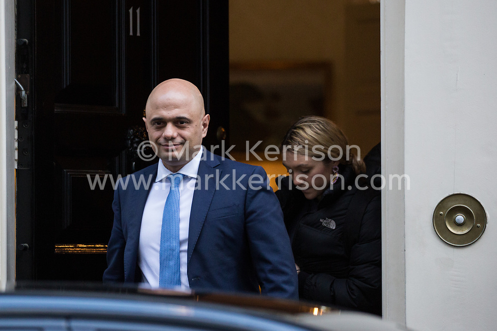 London, UK. 29 January, 2020. Chancellor of the Exchequer Sajid Javid leaves 11 Downing Street to attend Prime Minister's Questions in the House of Commons on the day on which MEPs will formally approve the EU Withdrawal Agreement.
