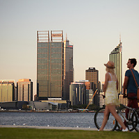 Sunset view from South Perth across the Swan River to the Perth central business district