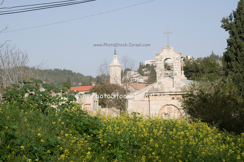 Israel, Jerusalem, Ein Kerem (Also Ein Karem), The traditional birthplace of John the Baptist. Greek Orthodox Saint John the Baptist Convent The steeple of the Church of John the Baptist in the background