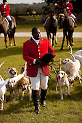 Jamie Greene, master of the hounds at the Middleton Place Fox Hunt before the start of the hunt on the greensward of the plantation house at Middleton Place plantation in Charleston, SC.