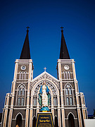 21 DECEMBER 2018 - CHANTABURI, THAILAND:  The Cathedral of the Immaculate Conception in Chantaburi. It is the largest Catholic church in Thailand and was founded more than 300 years ago by Vietnamese Catholics who emigrated to Thailand. The current cathedral building was sited and construction started while Chantaburi was occupied by French forces that had occupied neighboring Cambodia. The cathedral was finished after the French were expelled from Thailand. Chantaburi is the capital city of Chantaburi province on the Chantaburi River. Because of its relatively well preserved tradition architecture and internationally famous gem market, Chantaburi is a popular weekend destination for Thai tourists.      PHOTO BY JACK KURTZ