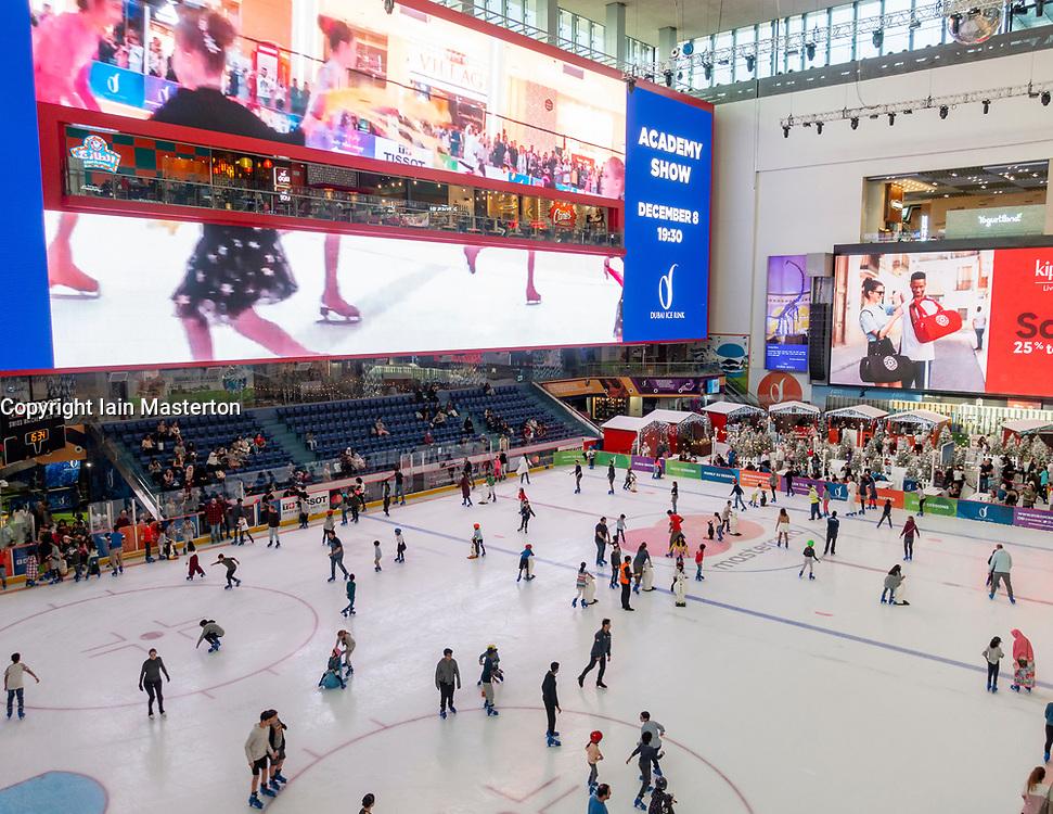 The Ice Rink inside the Dubai Mall, Dubai, United Arab Emirates.