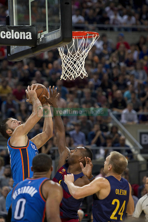 October 5, 2016 - Barcelona, Catalonia, Spain - Players in action during the NBA Global Games match between FC Barcelona and Oklahoma City Thunder at Palau Sant Jordi in Barcelona, Spain on October 5, 2016. (Credit Image: © Miquel Llop/NurPhoto via ZUMA Press)