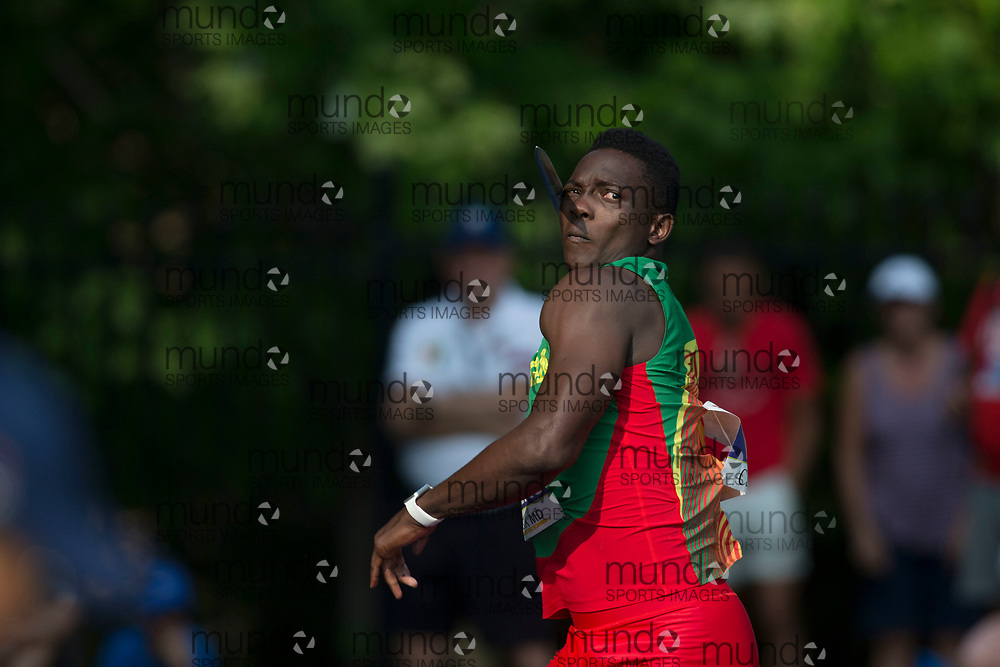 Toronto, ON -- 11 August 2018: Anderson Peters (Grenada), javelin at the 2018 North America, Central America, and Caribbean Athletics Association (NACAC) Track and Field Championships held at Varsity Stadium, Toronto, Canada. (Photo by Sean Burges / Mundo Sport Images).