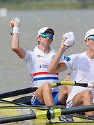 Chungju, South Korea.  GBR LM4-. Bow Adam FREEMAN-PASK,  Semi finals A/B. 2013 World Rowing Championships, Tangeum Lake, International Regatta Course.  Friday  30/08/2013   [Mandatory Credit. Peter Spurrier/Intersport Images]