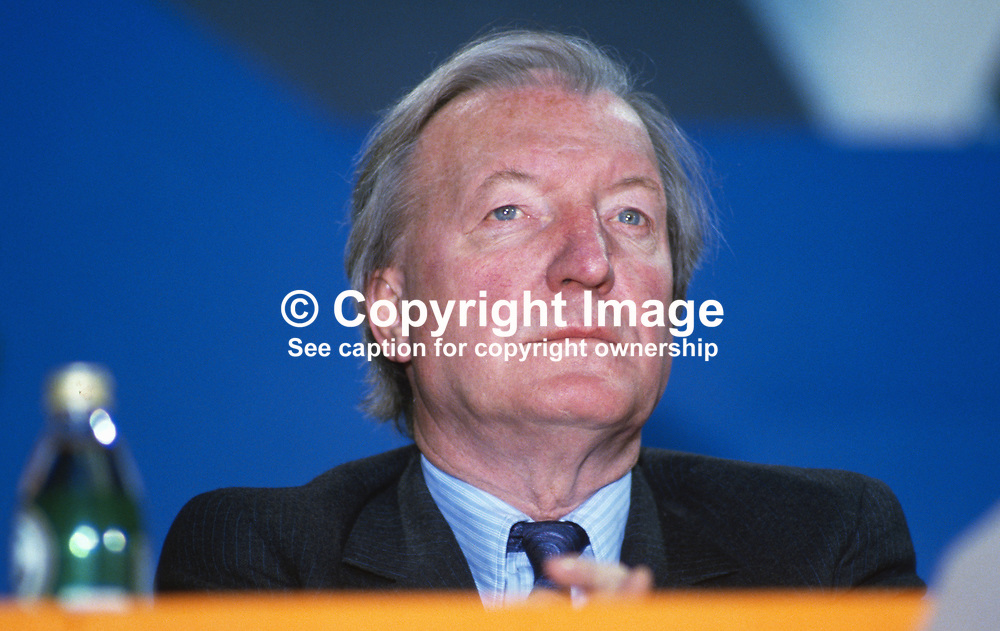 Charles Haughey, leader, Fianna Fail, Rep of Ireland, on the platform during his political party's annual conference in Dublin. 19860407CH2.<br /> <br /> Copyright Image from Victor Patterson, Belfast, UK<br /> <br /> t: +44 28 9066 1296 (from Rep of Ireland 048 9066 1296)<br /> m: +44 7802 353836<br /> e: victorpattersonbelfast@gmail.com<br /> <br /> www.images4media.com<br /> <br /> Please see my full Terms and Conditions of Use at https://www.images4media.com/p/terms-conditions - it is IMPORTANT that you familiarise yourself with them.<br /> <br /> Images used online incur an additional cost. This cost should be agreed in writing in advance. Online images must be visibly watermarked i.e. © Victor Patterson or that of the named photographer within the body of the image. The original metadata must not be deleted from images used online.<br /> <br /> This image is only available for the use of the download recipient i.e. television station, newspaper, magazine, book publisher, etc, and must not be passed on to a third party. It is also downloaded on condition that each and every usage is notified within 7 days to victorpattersonbelfast@gmail.com.<br /> <br /> The right of Victor Patterson (or the named photographer) to be identified as the author is asserted in accordance with The Copyright Designs And Patents Act (1988). All moral rights are asserted.