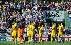 The Bristol Rovers fans applaude their side after a 1-0 win over Yeovil Town - Photo mandatory by-line: Harry Trump/JMP - Mobile: 07966 386802 - 15/08/15 - SPORT - FOOTBALL - Sky Bet League Two - Yeovil Town v Bristol Rovers - Huish Park, Yeovil, England.