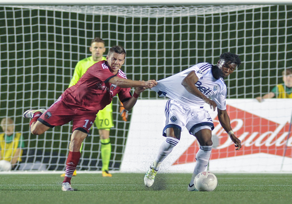 Ottawa Fury FC forward Carl Haworth (#17) during the Amway Canadian Championship semi-final first leg match between the Ottawa Fury FC and the Vancouver Whitecaps at TD Place Stadium in Ottawa, ON. Canada on June 1, 2016.<br /> <br /> PHOTO: Steve Kingsman/Freestyle Photography