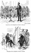 Alexander Graham Bell (1847-1922) Scottish-born American inventor, lecturing on his telephone at Salem (top) while friends in his study at Boston listen to his lecture - 12 February 1877. Wood engraving published Paris 1890
