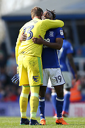 Birmingham City's winning goal scorer Jacques Maghoma (right) celebrates at the end of the match with teammate David Stockdale