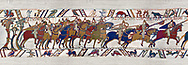 11th Century Medieval Bayeux Tapestry - Scene 48 - The Normans from up into battle formation. Battle of Hastings 1066. .<br /> <br /> If you prefer you can also buy from our ALAMY PHOTO LIBRARY  Collection visit : https://www.alamy.com/portfolio/paul-williams-funkystock/bayeux-tapestry-medieval-art.html  if you know the scene number you want enter BXY followed bt the scene no into the SEARCH WITHIN GALLERY box  i.e BYX 22 for scene 22)<br /> <br />  Visit our MEDIEVAL ART PHOTO COLLECTIONS for more   photos  to download or buy as prints https://funkystock.photoshelter.com/gallery-collection/Medieval-Middle-Ages-Art-Artefacts-Antiquities-Pictures-Images-of/C0000YpKXiAHnG2k