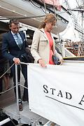 Prins Maurits, beschermheer van Sail Amsterdam, geniet met volle teugen van het maritiem spektakel. Hij voer woensdagmiddag rond 14.15 uur eigenhandig het vlaggenschip, De Clipper Stad Amsterdam van de Sail-In Parade het IJ op. <br /> <br /> Prince Maurice, patron of Sail Amsterdam, thoroughly enjoying the maritime spectacle. He sailed around 14:15 pm Wednesday handedly flagship, The Clipper Stad Amsterdam's Sail-In Parade on the IJ.<br /> <br /> Op de foto / On the photo:  Prins Maurits en Prinses Marilène / Prince Maurits and Princess Marilène