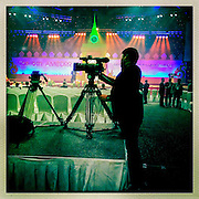 24 JUNE 2014 - BANGKOK, THAILAND: TV journalists set up at the the 6th Asian Ministerial Conference on Disaster Risk Reduction (AMCDRR). The AMCDRR started in Bangkok on June 24. The first of the biennial conferences was held in Beijing in 2005 after the 2004 Asian Tsunami and H5N1 Bird Flu epidemic of 2004. The conference this year in Bangkok will focus on possible disasters related to climate change, sustainable development, and managing public private partnerships for disaster risk.     PHOTO BY JACK KURTZ