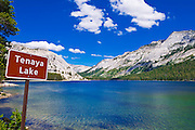 Tenaya Lake and sign, Tuolumne Meadows area, Yosemite National Park, California