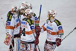 Team EC KAC celebrates vicotry during ice-hockey match between HDD Tilia Olimpija and EC KAC in 12th Round of EBEL league, on October 17, 2010 at Hala Tivoli, Ljubljana, Slovenia. (Photo By Matic Klansek Velej / Sportida.com)