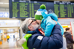 Roman Jakic with his grandson Leo Jakic prior to the departure of Slovenian Paralympic team for Pyeongchang 2018 Winter Paralympics, on March 3, 2018 in Letalisce Jozeta Pucnika, Brnik, Slovenia. Photo by Vid Ponikvar / Sportida