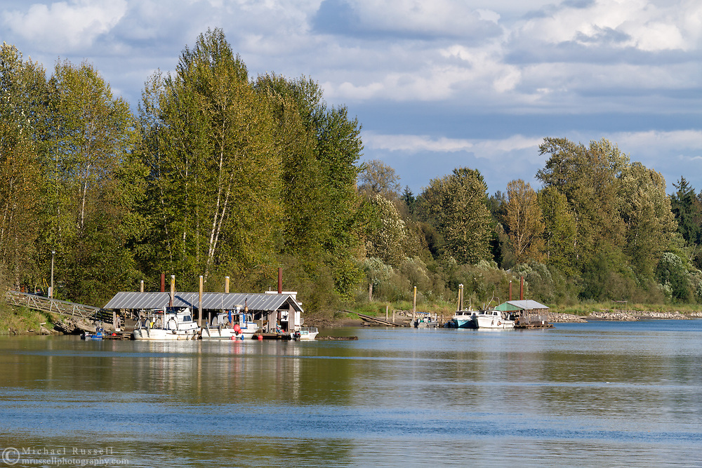 Docked fishing boats in the Bedford Channel at Fort Langley, British Columbia, Canada